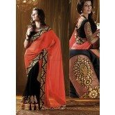 designer-orange-half-half-saree