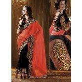 designer-orange-half-half-saree