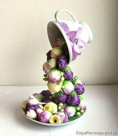 МегаГрад, handmade подарок для женщины - Чашка цветочная сиреневая, Katya Flor
