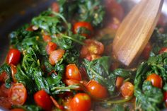 Spinach-tomato-saute- serve over pasta or eat all by itself Cherry Tomato Recipes, Spinach Recipes, Side Dish Recipes, Vegetable Recipes, Pasta Recipes, Tomato Side Dishes, Healthy Side Dishes, Vegetable Side Dishes, Sauteed Spinach