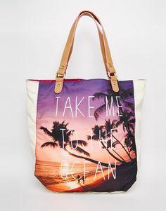 South Beach Ocean Print Beach Bag
