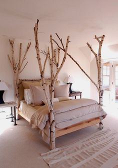 Unique Bed Designs and Creative Bedroom Decorating Ideas creative bed design ideas and unique furniture for bedroom decorating- very unique for sure!creative bed design ideas and unique furniture for bedroom decorating- very unique for sure! Diy Room Decor, Bedroom Decor, Woodsy Bedroom, Headboard Decor, Wall Decor, Tree Bed, Tree Canopy, Canopy Beds, Bunk Beds
