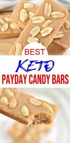 Quick low carb simple ingredient PayDay candy bars everyone will love. Perfect for low carb keto desserts or afternoon keto snacks - even as a breakfast sweet treat. Keto Desserts, Keto Snacks, Holiday Desserts, Low Carb Keto, Low Carb Recipes, Free Recipes, Payday Candy Bar, Keto Candy, Low Carb Candy