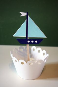 FALL SALE Nautical Toy Sail Boat Cupcake by Foolishworkerbee