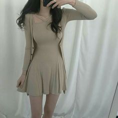 Heels Beige Outfit Blouses Ideas For 2019 - Cute Outfits Ulzzang Fashion, Asian Fashion, Girl Fashion, Fashion Dresses, Beige Outfit, Cute Dresses, Short Dresses, Casual Outfits, Girl Outfits