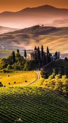 Villa I Pini near the medieval town of San Gimignano in Tuscany, Italy • photo…