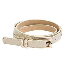 Introducing Womens Leather Double Bow Buckle Skinny Fashion Belt Cream. Great Product and follow us to get more updates!