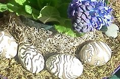 Clay eggs stoneware, glazed $20 each