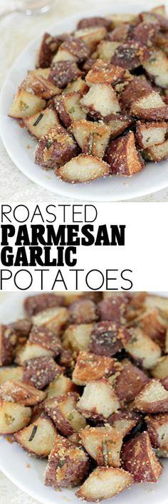 Roasted Parmesan Garlic Potatoes #potatoes #roastedpotatoes