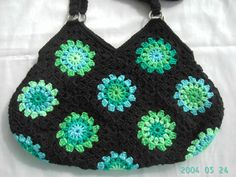 -crochet black bag with green turquoise flowers from fokkiewooh