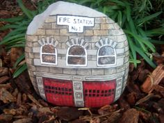 Fire House Station Painted River Rock