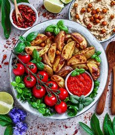 "9,748 Likes, 261 Comments - Food 🍉 Fitness 👯 Lifestyle 💖 (@fitness_bianca) on Instagram: ""just a huge bowl of homemade potato wedges + hummus, ajvar dip, salad, tomatoes and basil from my garden."