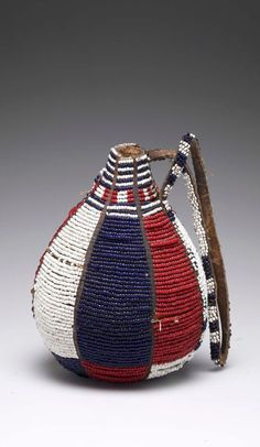 Africa   Vessel from the Maasai people of Kenya   Glass beads, gourd, hide   20th century