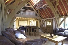 Green oak barn room by Roderick James Architects Timber Frames, Timber Frame Homes, Oak Framed Buildings, Lincoln Logs, Cosy Room, Interior Architecture, Interior Design, Grand Designs, Open Plan Living