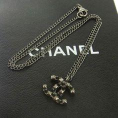 Authentic CHANEL Vintage CC Logos Silver Chain Pendant Necklace V12111 #Chanel #Pendant