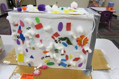 S is for STICKY box: cover cardboard box with contact paper (sticky side OUT) and give students re-stickable items to use