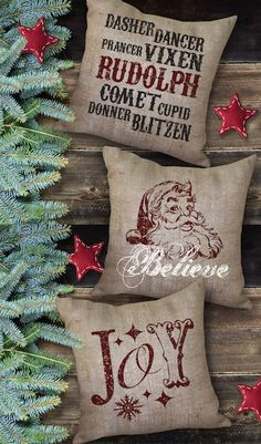 Love these Holiday Burlap Pillows ♥ Country Holiday Christmas ✿ڿڰۣ ♥ Merry Christmas ♥༻♥ LOVE! Burlap Christmas, Merry Little Christmas, Noel Christmas, Country Christmas, Christmas Projects, Winter Christmas, Holiday Crafts, Holiday Fun, Christmas Decorations