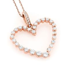 Luxurman 14k Gold 1ct TDW Round Diamond Heart Necklace (H-I, SI1-SI2) (14k Rose Gold), Women's, Size: 18 Inch (solid)