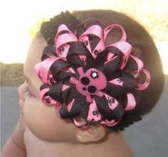 Pink skull Baby Girls Hair Bow and Headband! Black and pink with black skulls combo. This three layer bow will look adorable on your princess. All three layers are 3/8 grosgrain ribbon top off with a bling hot pink skull in the center of the bow. The bow measures at about 4.The bow is attached to a alligator clip so it can grow with your infant and even be used as just a clip in her hair. But I do attach this clip to a 1.5 black crochet headband.All bows are hand crafted and heat sealed to…