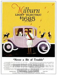 Another of the 1916 full page color ads Milburn placed for its Model 22 Brougham.