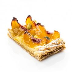 Tartelette aux pêches Lenotre, Tartelette, French Toast, Breakfast, Ethnic Recipes, Gaston, Desserts, Food, Puff Pastries