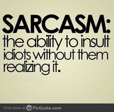 I used to know someone who thought sarcasm was 'being witty' when in actual fact it just about demeaning and insulting others as this sign points out! Great Quotes, Quotes To Live By, Me Quotes, Funny Quotes, Inspirational Quotes, Idiot Quotes, Witty Quotes Humor, Stupid Quotes, Quotes Images