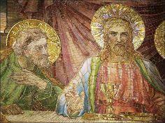 Last Supper, Clifton Springs Mosaic Glass, Stained Glass, Mosaic Artwork, Last Supper, Mosaic Ideas, Lord And Savior, Catholic, Tiffany, Magic