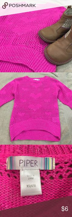 Hot pink sweater with hearts by Piper. Size XS 4/5 Fun sweater from Piper. Hot pink with hearts. 4/5. EUC Piper Shirts & Tops Sweaters