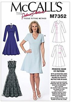 Amazon.com: McCall's Patterns M7352 Misses' Jewel or V-Neck Fit and Flare Dresses, Size (6-8-10)-(12-14-16)-(18-20-22): Arts, Crafts & Sewing Easy Sewing Patterns, Mccalls Sewing Patterns, Clothing Patterns, Dress Patterns, Fit And Flare, Fit N Flare Dress, Miss Dress, Sewing Clothes, Sewing Projects