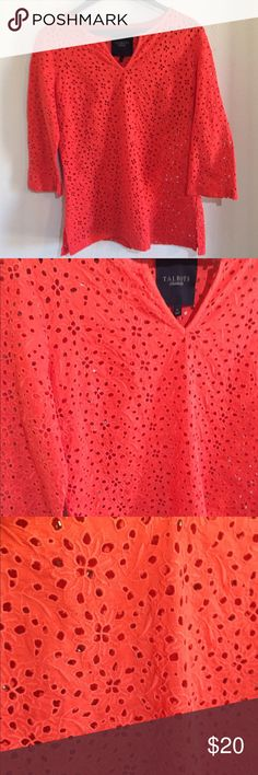 """Talbots Tunic Top Beach Coverup 3/4 sleeve, eyelet fabric, and in great condition. 20"""" from armpit to armpit and 28"""" in length. There are slits at the bottom on the sides. Talbots Swim Coverups"""