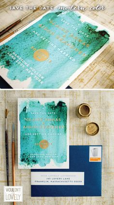 teal navy and gold wedding save the dates, watercolor wedding invitations with gold foil, custom designed by Wouldn't it be Lovely