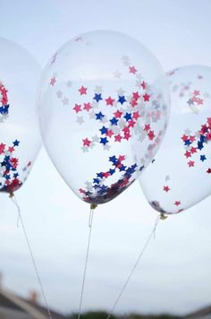 Items similar to USA colors 11 inches Latex Balloon - Clear with SMALL star Confetti Party Supplies of July balloon on Etsy Fourth Of July Decor, 4th Of July Celebration, 4th Of July Decorations, 4th Of July Party, 4th Of July Fireworks, Balloon Decorations, 4th Of July Ideas, Balloon Garland, Birthday Decorations