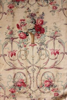 Antique French early 19th century block printed cotton and linen mix ~ STUNNING Rococo design ~ www.textiletrunk.com