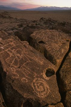 Petroglyphs on volcanic rock in Owens Valley, California