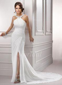 Forme Fourreau Col rond Traîne moyenne Mousseline Robe de mariée avec Plissé Emperler Fendue devant (0025055816)