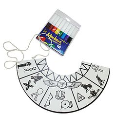 Let your guests color their own Egyptian Collars. This fun kit includes eight card stock 9 1/2 inch collars, markers, and cord. Easy assembly.