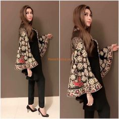 HINA BUTT Luxury Latest Winter Velvet Collection Replica Fabric: Velvet Embroidered Neck Plain Velvet Shirt Front Plain Velvet Shirt Back Embroidered Chiffon Bell Sleeves Plain Chiffon Dupatta Malai Crape Trousers Included Designer Party Wear Dresses, Kurti Designs Party Wear, Indian Designer Outfits, Designer Clothing, Stylish Dresses For Girls, Stylish Dress Designs, Casual Dresses, Winter Dresses, Summer Dresses