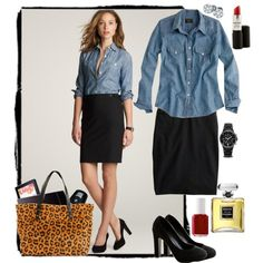 Work outfit idea. Chambray, Pencil and Leopard