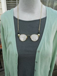 Vintage Eyeglass Necklace with book pages