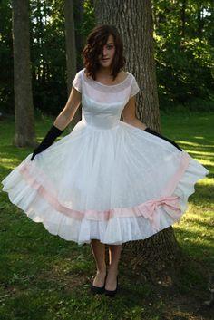 50s white prom dress 1950s chiffon party wedding rockabilly vlv peach bows mad men size small. $199.00, via Etsy.