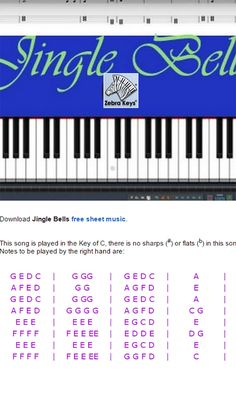 Learn how to play Jingle Bells on piano - Easy Piano with free virtual piano for practicing