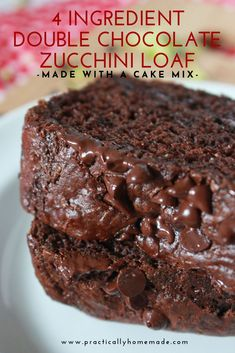 This is a delicious cake made from a cake mix with the surprise addition of zucchini. Chocolate cake mix, mini chocolate chips and shredded zucchini are combined to make a super moist and extra delicious chocolate loaf that everyone will love. Chocolate Cake Mixes, Mini Chocolate Chips, Delicious Chocolate, Chocolate Recipes, Chocolate Deserts, Chocolate Chocolate, Homemade Chocolate, Dessert Bread, Dessert Recipes
