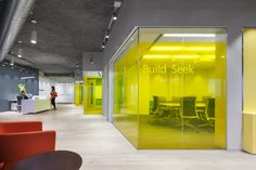 Idea for clear windows for privacy work spaces yet can see students . Microsoft   Hartford Customer Center and Sales Office