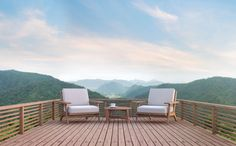 Wood balcony with mountain view rendering image. There are wood floor.Furnished with fabric and wooden furniture. There are wooden railing overlooking the surrounding nature and mountain - Buy this stock illustration and explore similar illustrations at Indoor Outdoor Area Rugs, Outdoor Decor, Bali, Mountain View, View Photos, Outdoor Furniture Sets, Wooden Furniture, Sun Lounger, Modern Farmhouse