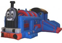 Inflatable Train Bouncer with Slide-J4