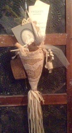 Primitive Hooked Rug Tombstone Angel Cone by AMurderofCrowsPrims