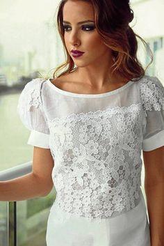 Blusas-blancas-de-encaje-moda-casual-elegante