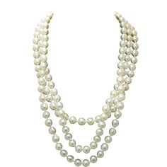 Vintage Cultured Pearl and Diamond Multi-Strand Necklace