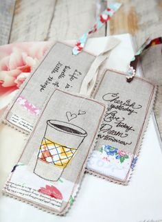 diy linen embroidered bookmarks