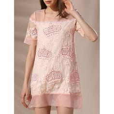 25.45$  Buy now - http://digup.justgood.pw/go.php?t=185197509 - Trendy Round Neck Embroidery Beaded Voile Spliced Women's Dress